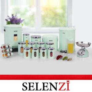 سرویس آشپزخانه لیمون 21 پارچه سبز گرد