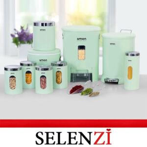 سرویس آشپزخانه لیمون 9 پارچه گرد سبز