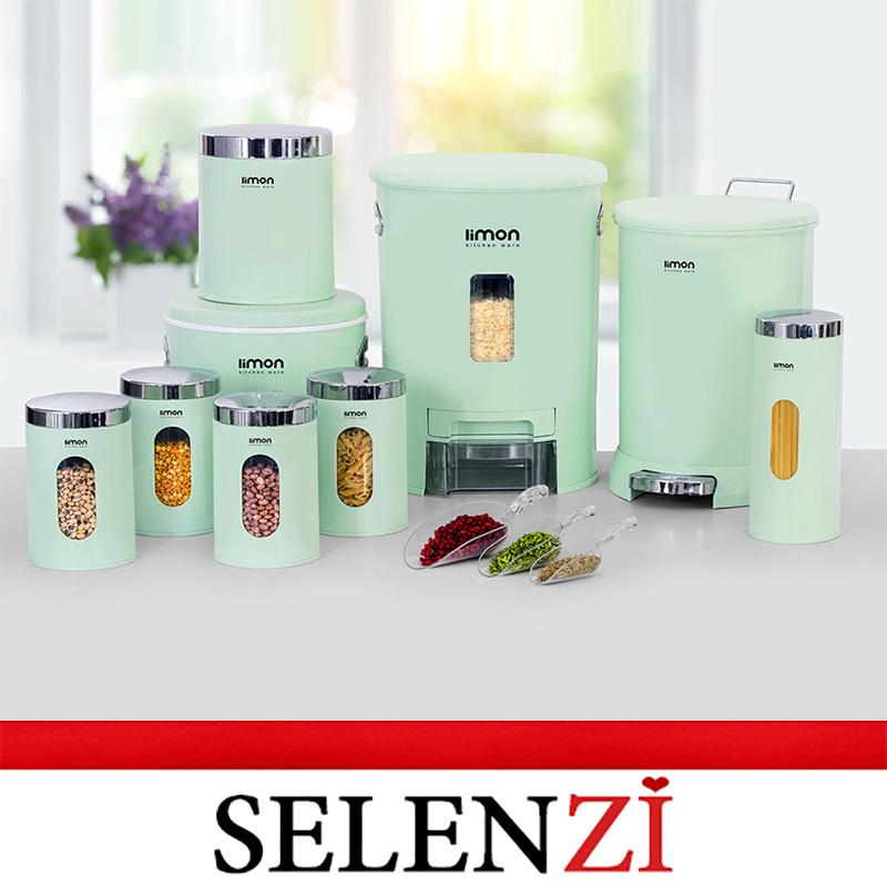 سرویس آشپزخانه لیمون 9 پارچه سبز گرد