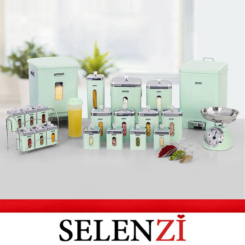سرویس آشپزخانه 21 پارچه سبز مربع